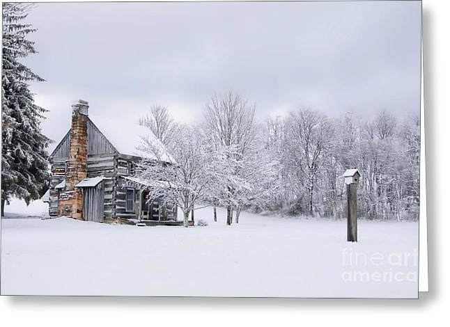 Snowy Cabin Greeting Card