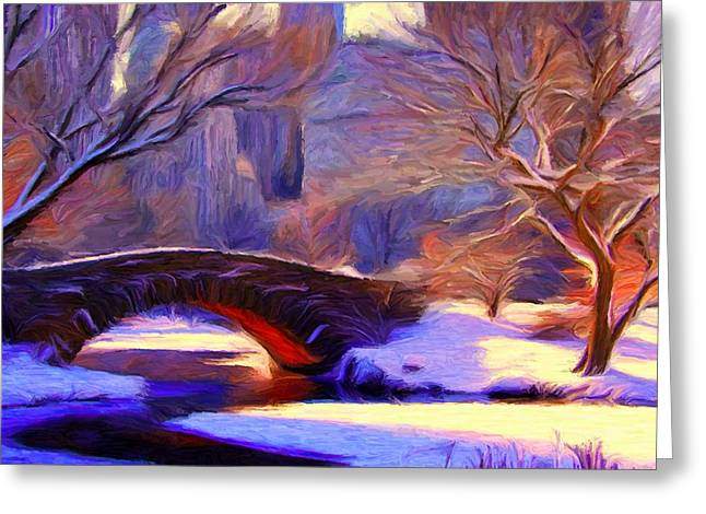 Snowy Central Park Greeting Card