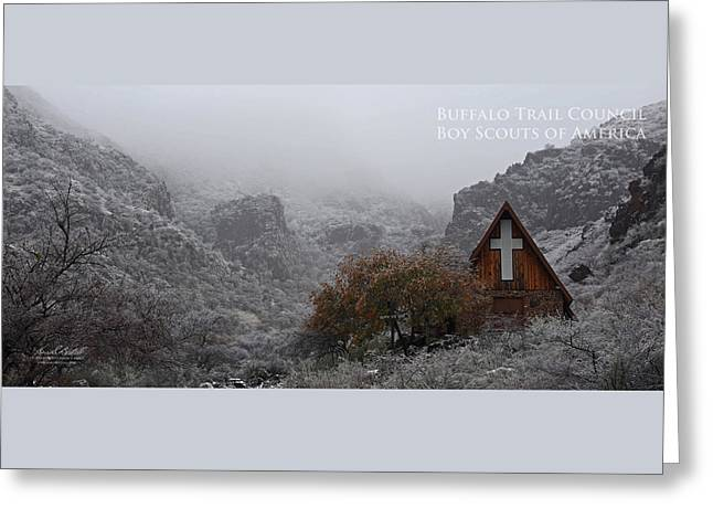 Snowy Chapel Greeting Card by Aaron Bedell