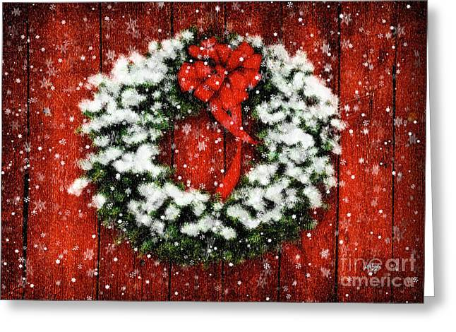 Snowy Christmas Wreath Greeting Card