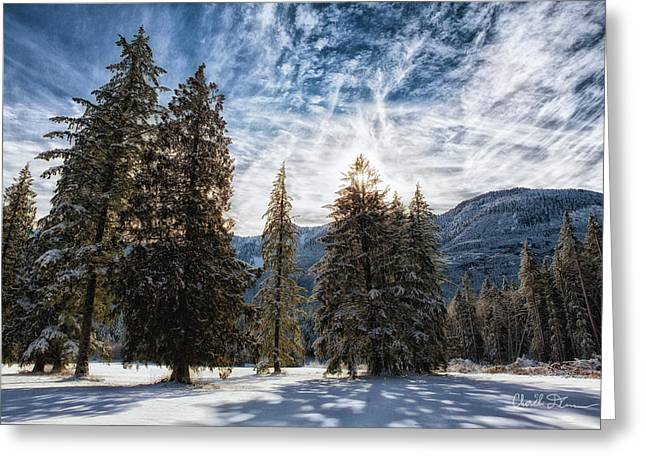 Snowy Clouds Greeting Card by Charlie Duncan