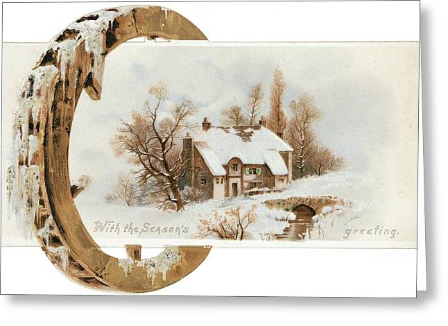 Snowy Cottage Landscape With Wooden Greeting Card by Gillham Studios