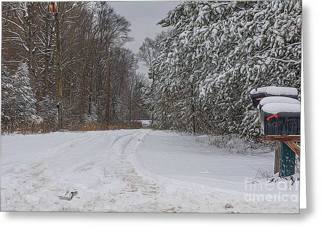 Snowy Country Lane Greeting Card by Kathy Liebrum Bailey