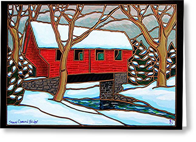 Snowy Covered Bridge Greeting Card by Jim Harris