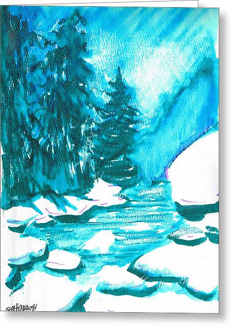Greeting Card featuring the mixed media Snowy Creek Banks by Seth Weaver