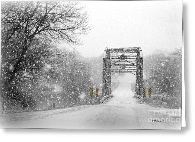 Snowy Day And One Lane Bridge Greeting Card by Kathy M Krause