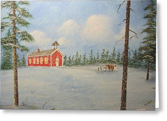 Snowy Day At School Greeting Card by Karen Johnson