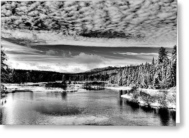 Snowy Day At The Green Bridge Greeting Card by David Patterson