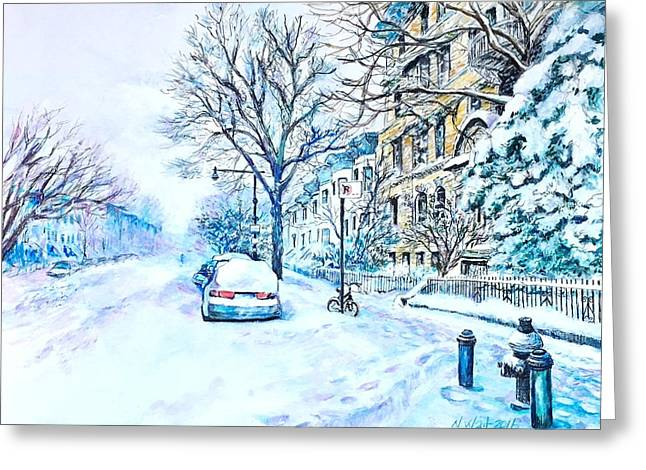Snowy Day Brooklyn  Greeting Card
