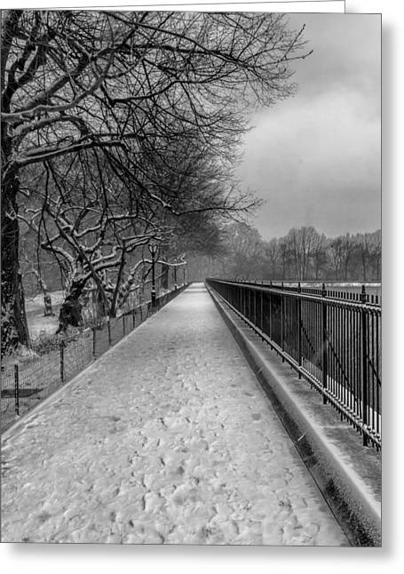 Snowy Day Central Park Reservoir Nyc Greeting Card by Robert Ullmann