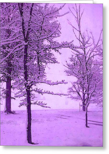 Greeting Card featuring the photograph Snowy Day In Purple by Michelle Audas