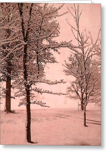 Greeting Card featuring the photograph Snowy Day In Rose by Michelle Audas