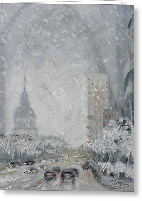 Snowy Day - Market Street Saint Louis Greeting Card