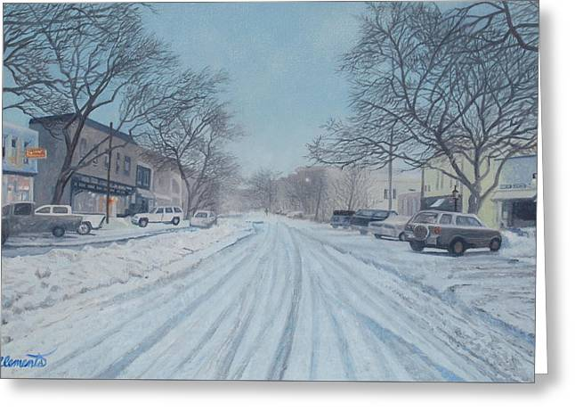 Snowy Day On Main Street, Sag Harbor Greeting Card