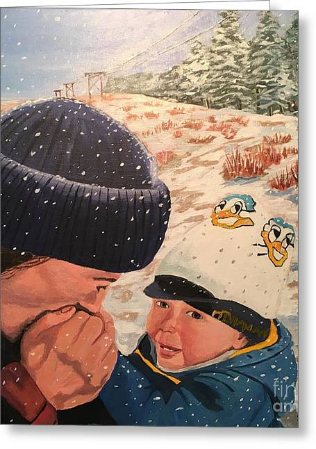 Snowy Day With My Dad Greeting Card