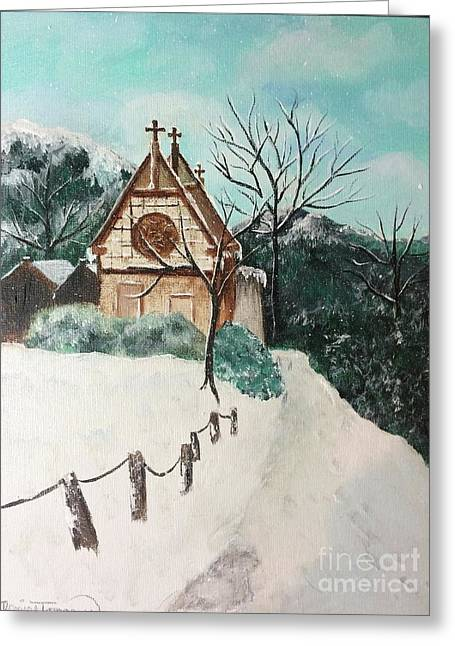 Greeting Card featuring the painting Snowy Daze by Denise Tomasura