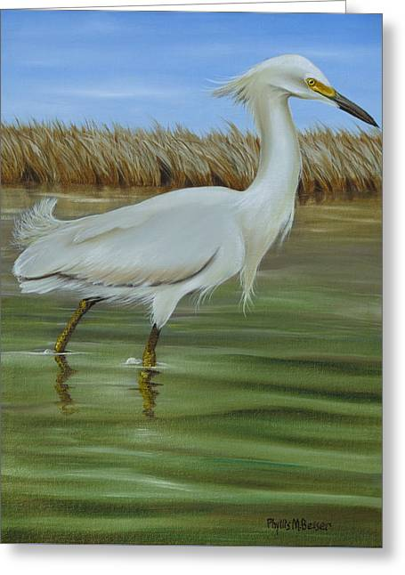 Greeting Card featuring the painting Snowy Egret 1 by Phyllis Beiser