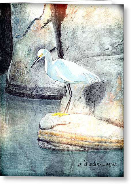 Snowy Egret Greeting Card by Arline Wagner