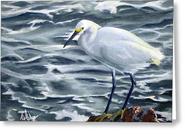 Snowy Egret On Jetty Rock Greeting Card