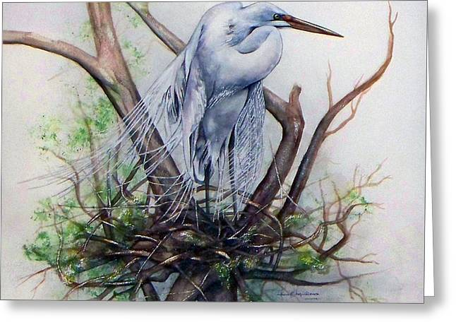 Snowy Egret On Nest Greeting Card
