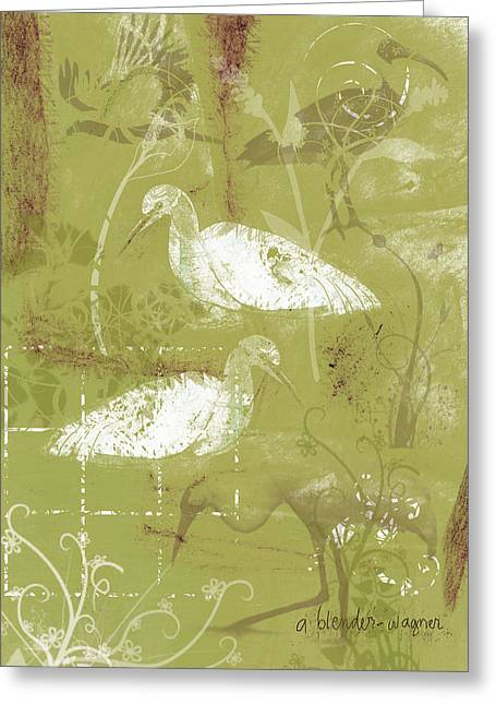 Snowy Egrets Greeting Card by Arline Wagner