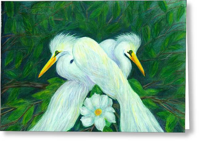Greeting Card featuring the painting Snowy Egrets by Jeanne Kay Juhos
