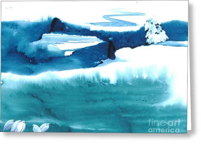 Snowy Egrets Greeting Card by Mui-Joo Wee