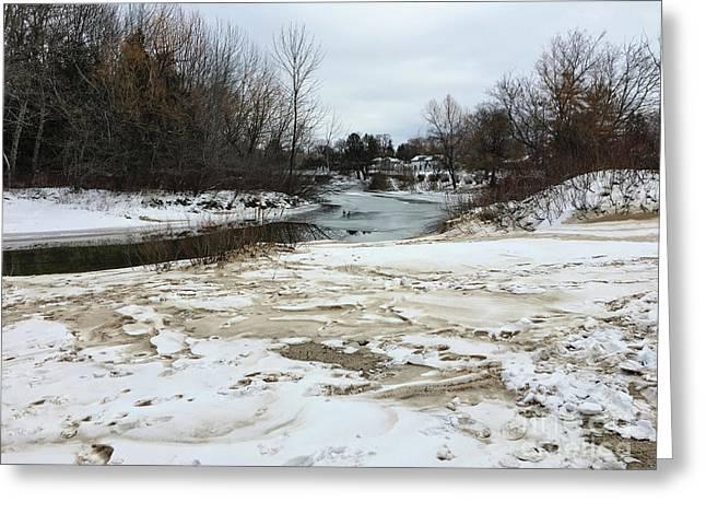 Snowy Elk Rapids River Greeting Card