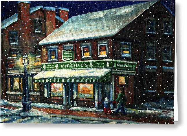 Snowy Evening In Gloucester, Ma Greeting Card