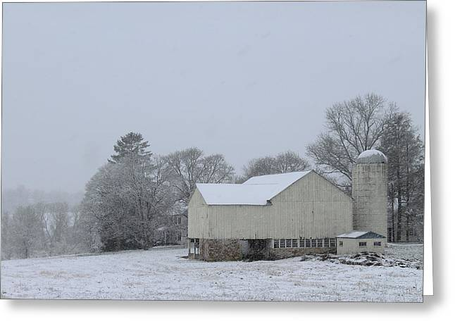 Greeting Card featuring the photograph Winter White Farm by Melinda Blackman