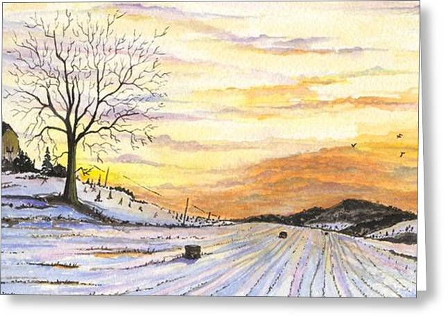 Greeting Card featuring the digital art Snowy Farm by Darren Cannell