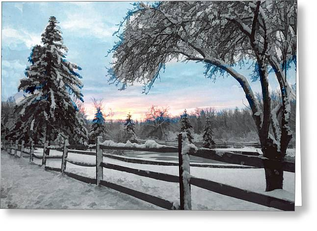 Snowy Fence And Pasture Greeting Card