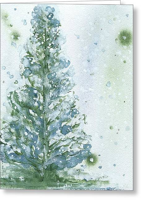 Greeting Card featuring the painting Snowy Fir Tree by Dawn Derman