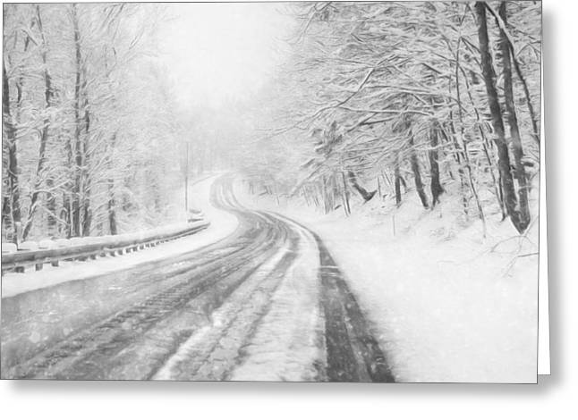 Snowy Gold Mine Road Greeting Card by Lori Deiter