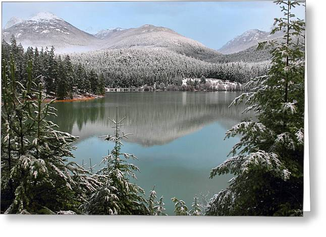 Snowy Green Lake Sunset Whistler B.c Canada Greeting Card by Pierre Leclerc Photography