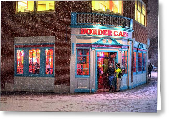 Snowy Harvard Square Night Border Cafe Greeting Card by Toby McGuire