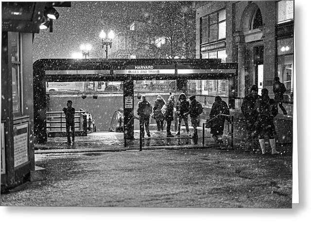 Snowy Harvard Square Night- Harvard T Station Black And White Greeting Card