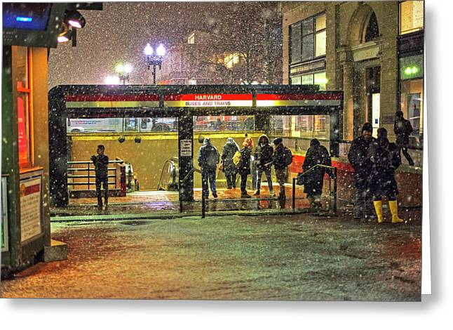 Snowy Harvard Square Night- Harvard T Station Greeting Card