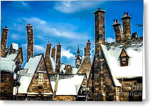 Snowy Hogsmeade Village Rooftops Greeting Card