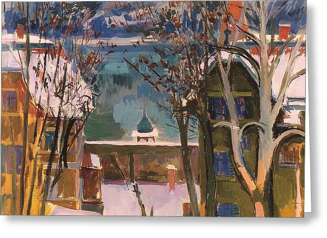 Snowy Houses At Worthersee Greeting Card by Mountain Dreams