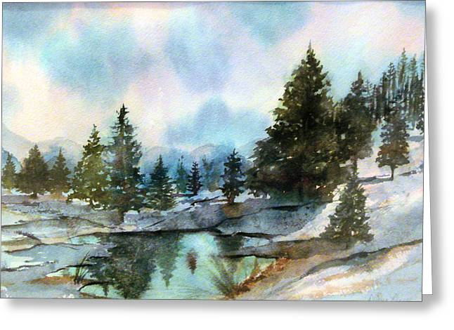 Snowy Lake Reflections Greeting Card
