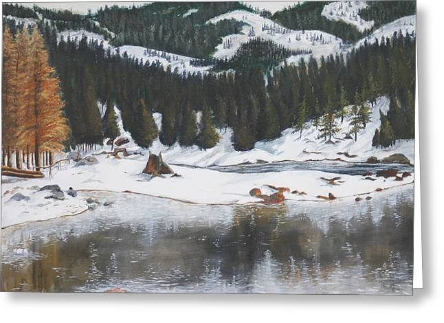 Snowy Lake Greeting Card by Travis Day