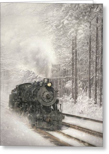 Snowy Locomotive Greeting Card by Lori Deiter