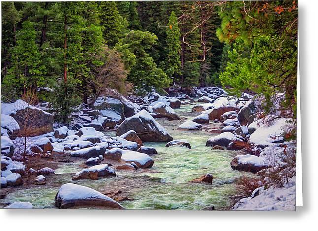 Snowy Merced River Greeting Card