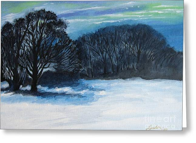 Snowy Moonlight Night Greeting Card