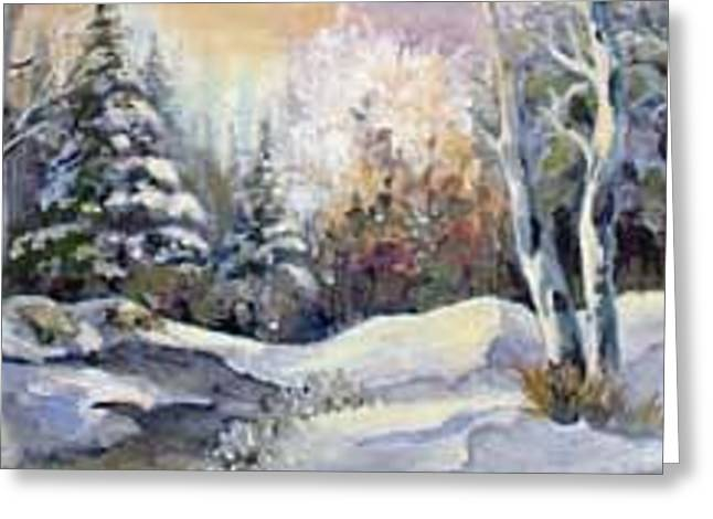 Snowy Morning Greeting Card by Audie Yenter
