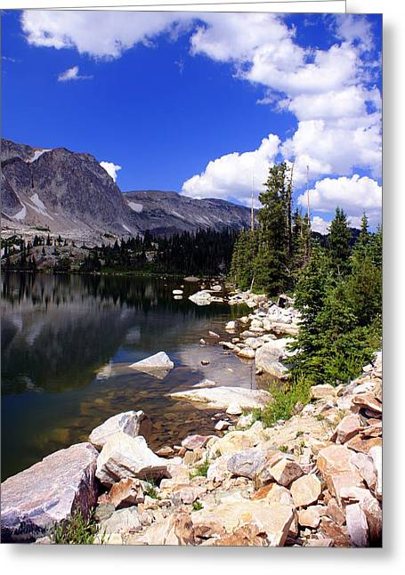 Snowy Mountain Lake Greeting Card by Marty Koch