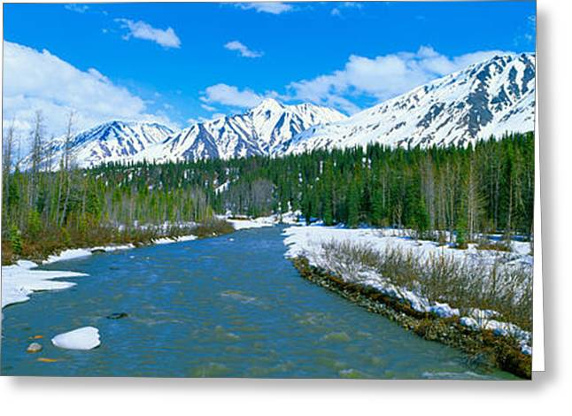 Snowy Mountains And Chulitna River Greeting Card by Panoramic Images