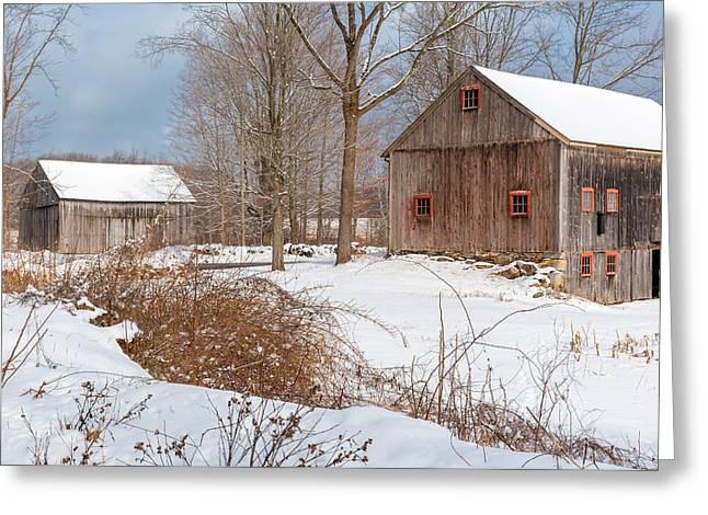 Snowy New England Barns 2016 Greeting Card