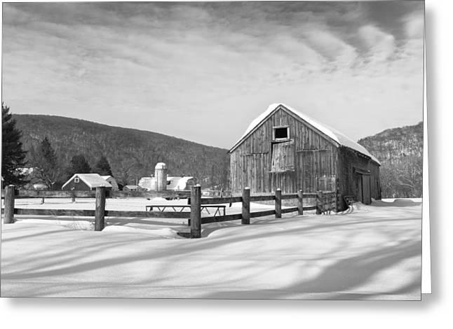 Snowy New England Barns Bw Greeting Card